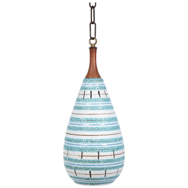 White Italian Stripe Ceramic Pendant Chandelier For Sale - Image 8 of 8