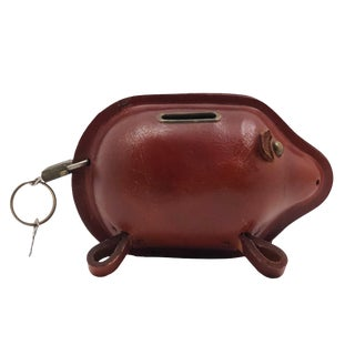 Mid-Century Leather Piggy Bank With Lock and Keys For Sale