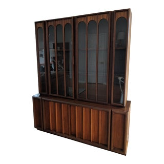 1960s Mid-Century Modern Keller Colonnade Top Walnut Hutch For Sale