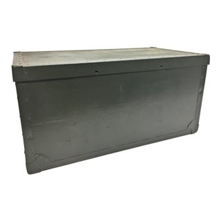 Vintage Military Drab Green Storage Chest With Removable Lid For Sale