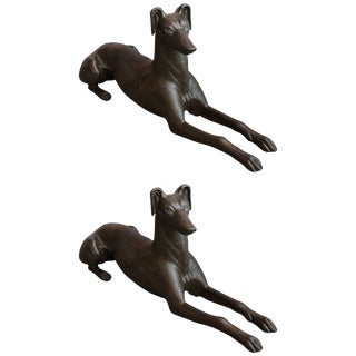 Cast Iron Greyhound Dog Statues - a Pair For Sale