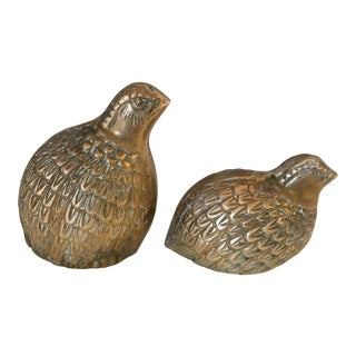 Brass Pheasant Figurines -a Pair For Sale