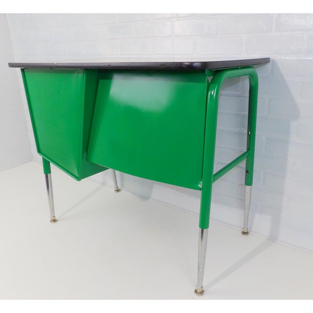 Mid-Century Kelly Green Petite Tanker Office Desk For Sale - Image 5 of 9