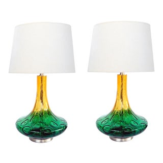 Large American 1970s Yellow and Green Art Glass Lamps - a Pair For Sale