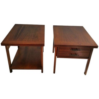 Mid-Century Modern Walnut Tables Manufactured by Lane - A Pair For Sale