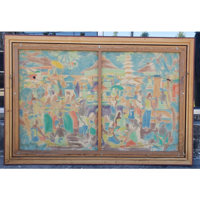 Asian Circa 1970 Balinese Ubud Marketplace Scene Painting on Canvas by K. Nana For Sale - Image 3 of 4