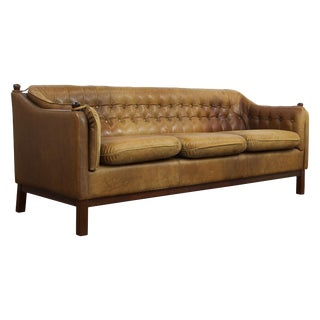 Svend Skipper Danish Leather Sofa For Sale