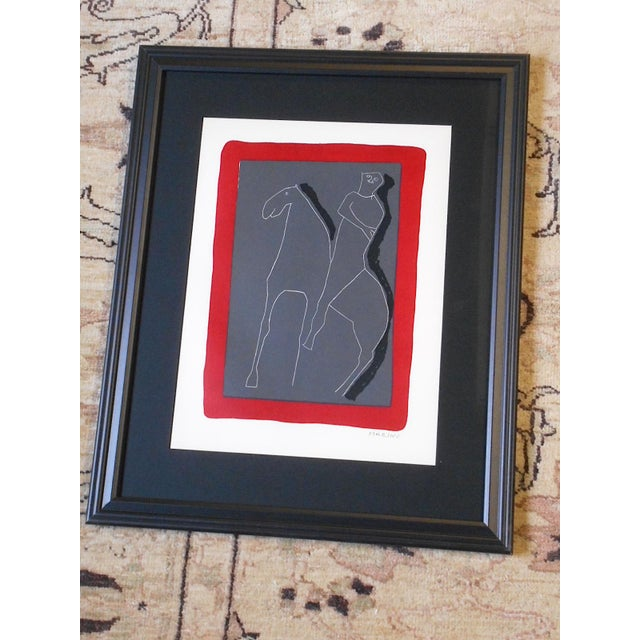 Gray Vintage Ltd. Ed. Marino Marini Silkscreen-Abstract Equine-1959-Folio Size-Framed For Sale - Image 8 of 9