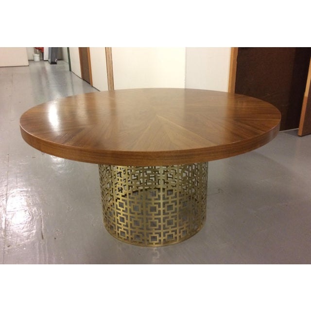 Jonathan Adler Walnut Table With Brass Base For Sale - Image 5 of 5