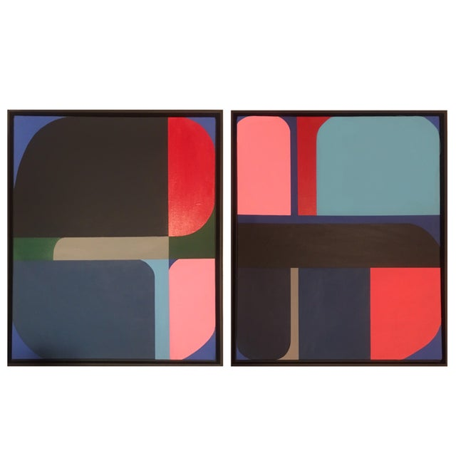 Brooks Burns Framed Original Abstract Geometric Paintings - a Pair For Sale - Image 4 of 5