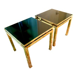 Mastercraft Style Brass Side Tables With Black Glass Tops -- a Pair For Sale