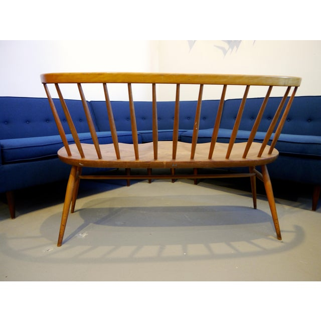 Beech 1950's Windsor Loveseat by Lucian Ercolani For Sale - Image 7 of 10