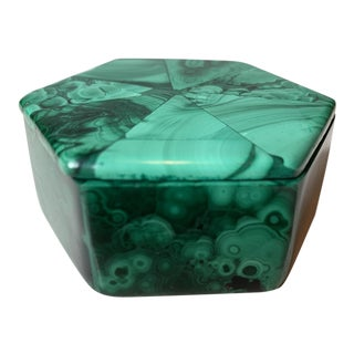 Contemporary Malachite Hexagon Box For Sale
