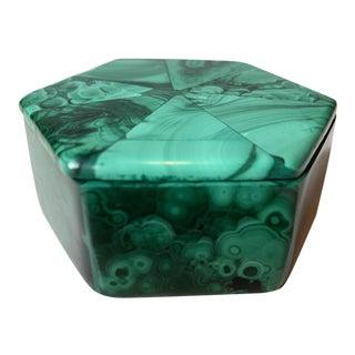 Contemporary Malachite Hexagon Box For Sale