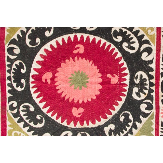 Boho Chic Vintage Pink & Red Suzani Textile For Sale - Image 3 of 3