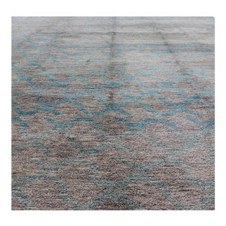 Large Modern Rug With Taupe, Silver and Blue For Sale