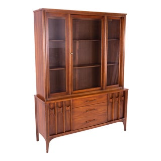 Kent Coffey Perspecta Mid Century Walnut and Rosewood Buffet and Hutch China Cabinet For Sale