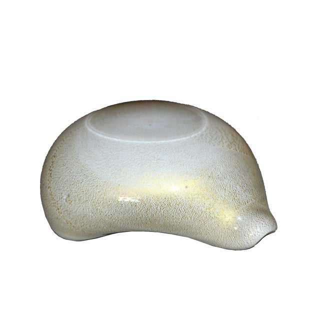 Murano Art Glass Beige & Gold Flecks Catchall, Bowl Inspired by Alfredo Barbini For Sale - Image 9 of 10