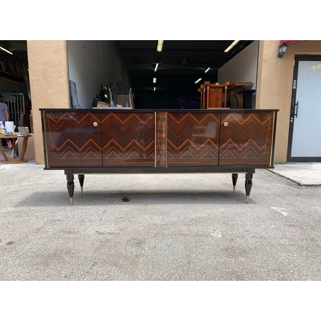 """1940s French Art Deco Exotic Macassar Ebony """"Zigzag"""" Buffet/Sideboard For Sale - Image 10 of 13"""