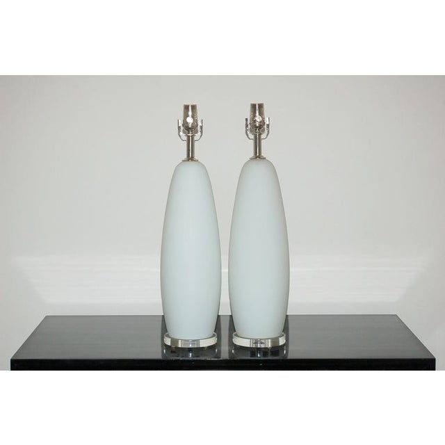Vintage Venetian SATINADO BLANCO glass table/pendant lamps on a narrow lucite base. The White is satin finished. They...