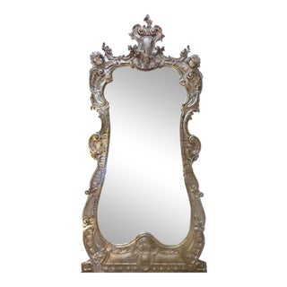 Monumental 19th Century Carved Wood Beveled Mirror W/ Silver & Gold Gilt For Sale