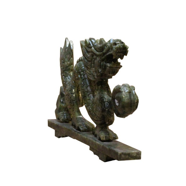 Chinese Green Stone Carved Dragon Fengshui Figure For Sale - Image 4 of 7