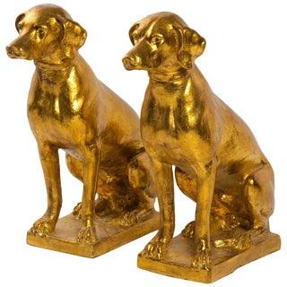 Pair of 1960s Italian Terracotta Gilt Labradors For Sale
