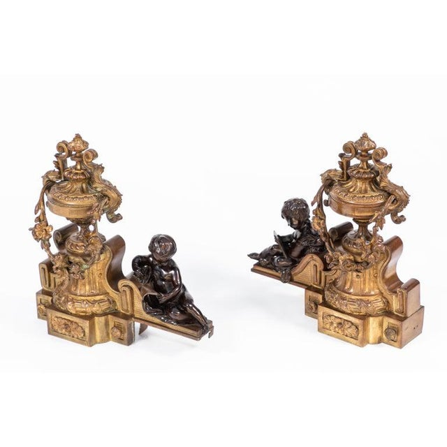19th Century French Bronze Chenets - a Pair For Sale - Image 4 of 12