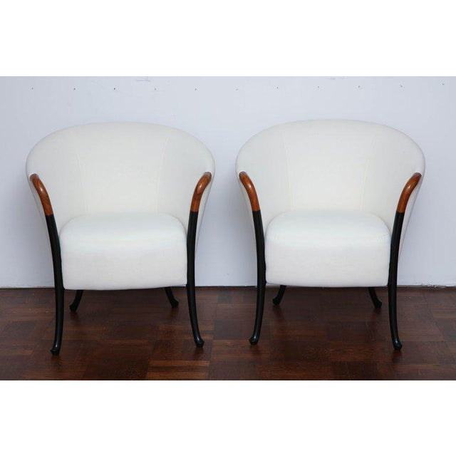 1980s Pair of Curved Back Armchair With Beech Wood Legs For Sale - Image 5 of 8