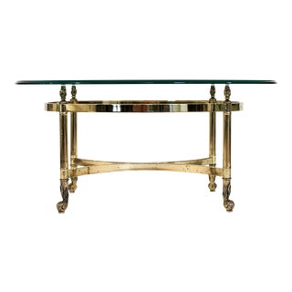 Petite Oval Brass and Glass Coffee Table
