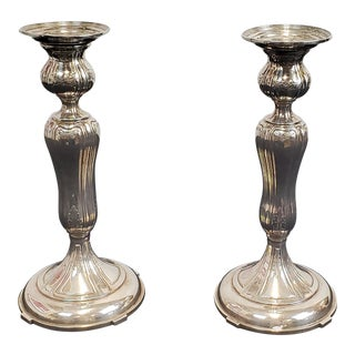 Pair Weighted Sterling Silver Black Starr & Frost Candlesticks #3584 C1940s For Sale