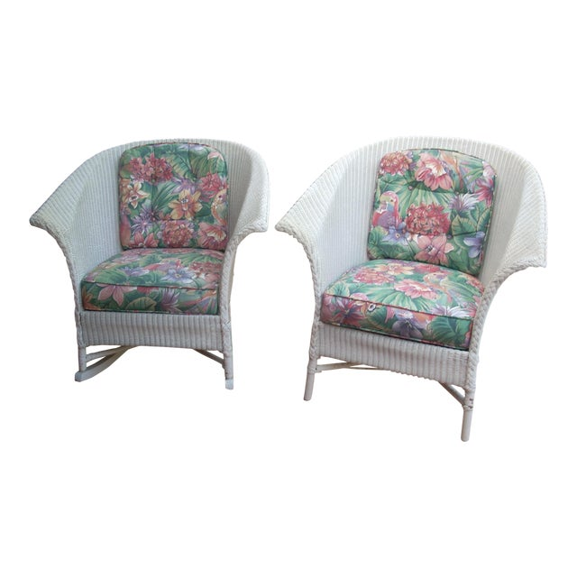 Contemporary Cottage Wicker Chair & Rocker - a Pair - Image 1 of 8