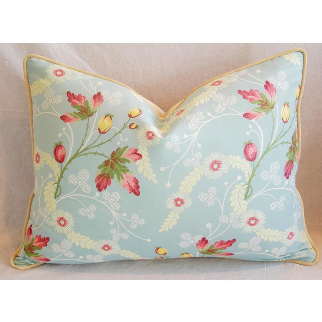 Powder Blue Scalamandré Floral Brocade Pillows - A Pair - Image 6 of 11