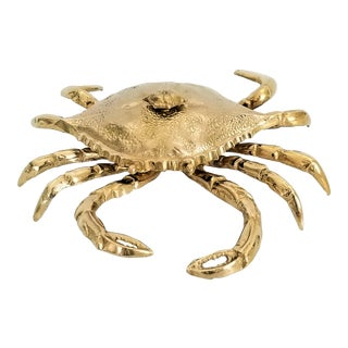 Restored Extra-Large 1960s Vintage Solid Brass Crab Box - Mid Century Modern Coastal Tropical Palm Beach Boho Chic For Sale