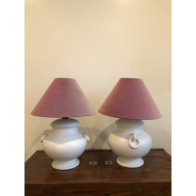 Mid-Century Ceramic Urn Amphora Form Lamps - A Pair For Sale - Image 4 of 7