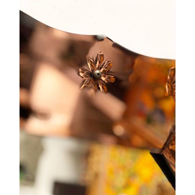 Art Deco Vintage Rose Gold Venetian Floral Etched Mirror For Sale - Image 3 of 4