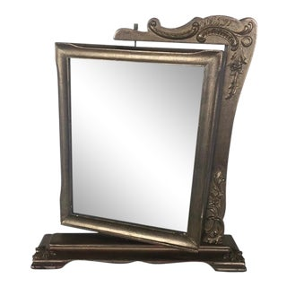 Early 20th Century Double-Sided Revolving Silvered Wood Picture Frame For Sale