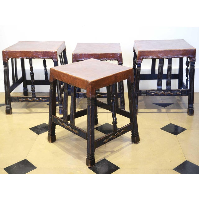 """Set of 4 """"Chokwe"""" African Stools, in Sculpted Wood and Parchment For Sale - Image 12 of 12"""