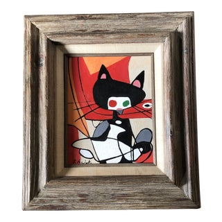 Original Contemporary Stephen Heigh Abstract Cat Painting Vintage Modernist Frame For Sale