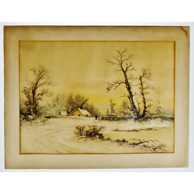 Traditional Antique Framed Mixed Media Country Landscape Scene For Sale - Image 3 of 13