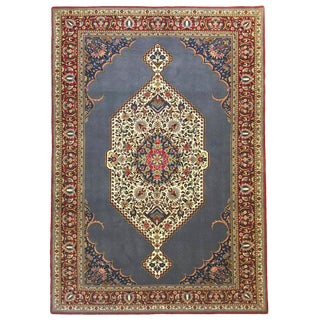 Persian Hand Knotted Medallion Floral Blue Tabriz Rug, 1970s For Sale