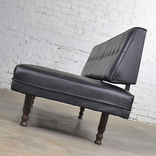 Mid 20th Century Vintage Mid Century Modern Black Vinyl Faux Leather Convertible Sofa by Universal of High Point For Sale - Image 5 of 13