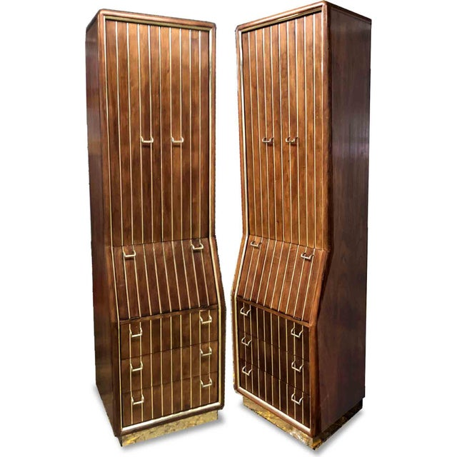1960s Mid-Century Modern Brass Pinstripe Chifforobes by American of Martinsville - A Pair For Sale - Image 10 of 10