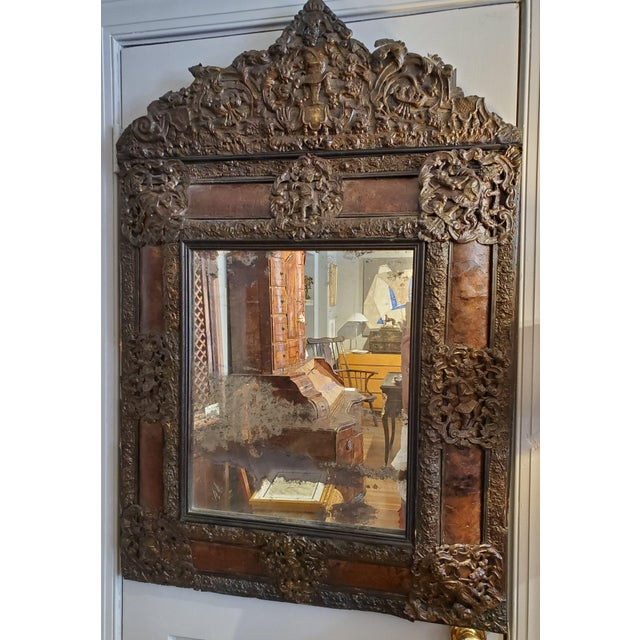 Metal 17th Century Cushion Moulded Dutch Mirror For Sale - Image 7 of 9