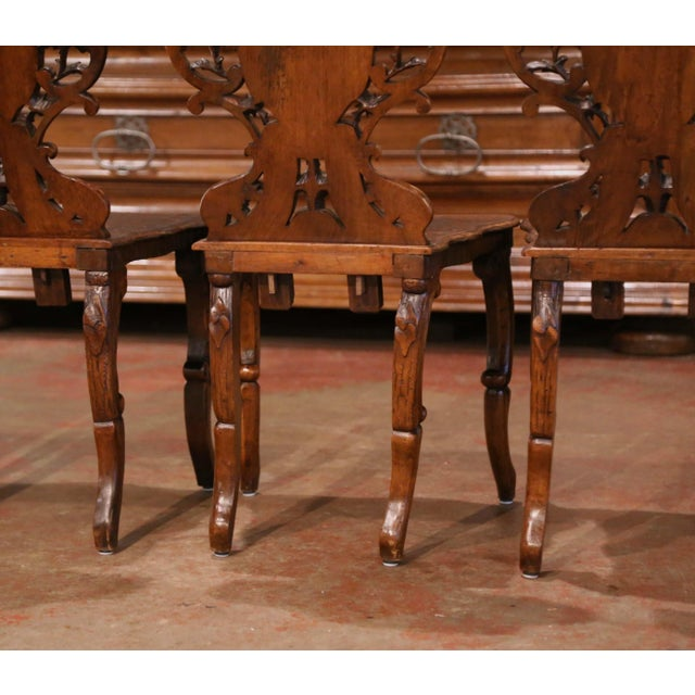 Set of Four 19th Century French Black Forest Carved Walnut Chairs For Sale - Image 10 of 13