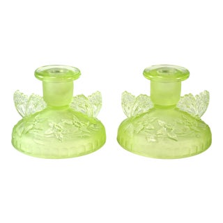Green English Candle Holders, 1930s - A Pair