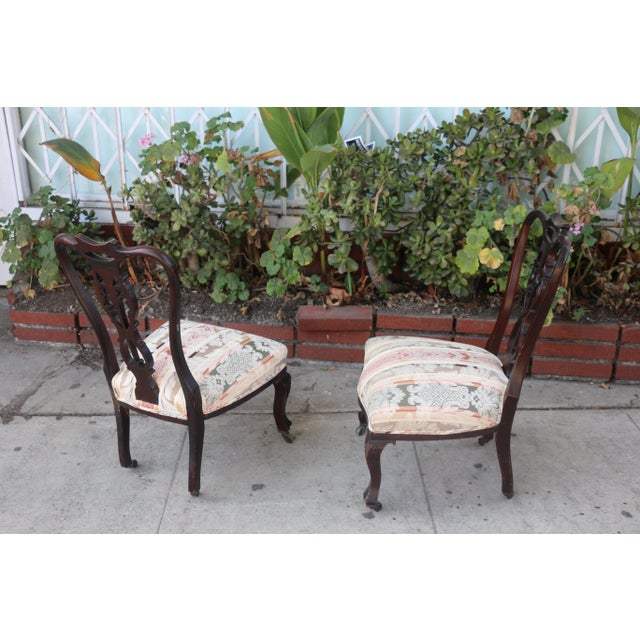 1920s Early 1900's Italian Low Chairs- A Pair For Sale - Image 5 of 9