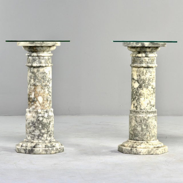 Italian Carved Marble Columns or Pedestal Stands - a Pair For Sale - Image 11 of 12