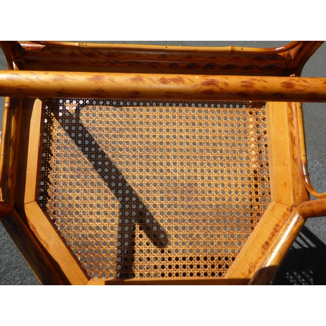 Vintage Chinoiserie Brighton Pavillion Style Rattan Bamboo & Cane Arm Chair For Sale - Image 11 of 11
