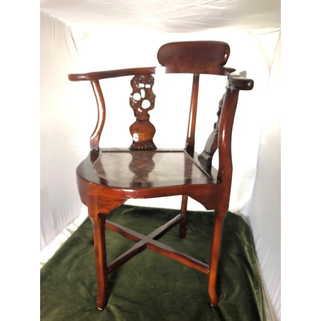 Very nice Antique Cherry Blossom carved cherry wood corner chair. circa 1940's. This beautiful piece has an intricate...